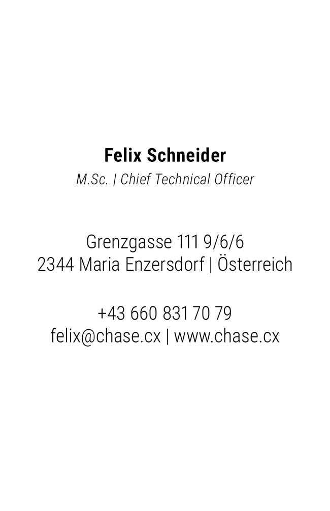 Visitenkarte Felix Schneider